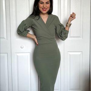 Green Midi Body Con Dress